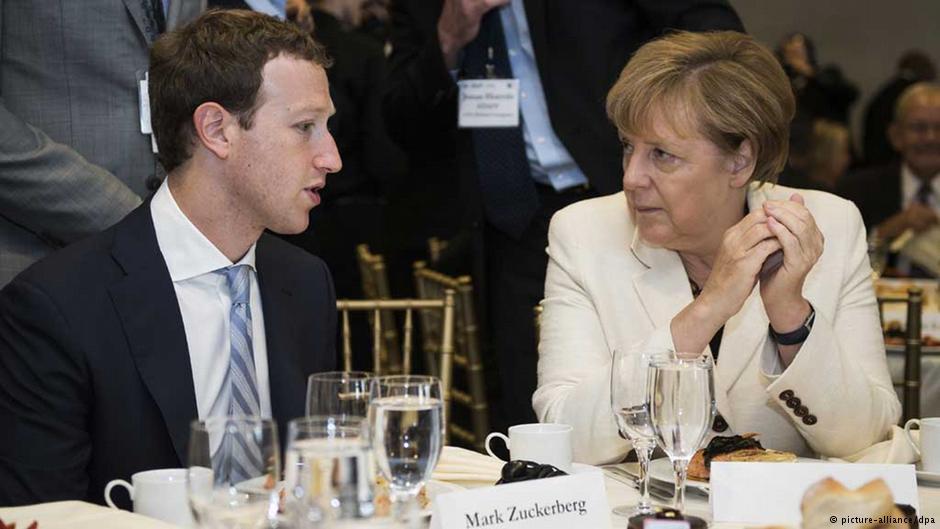 گفتگوی آنگلا مرکل، صدر اعظم آلمان، با مارک زاکربرگ، بنیانگذار فیسبوک