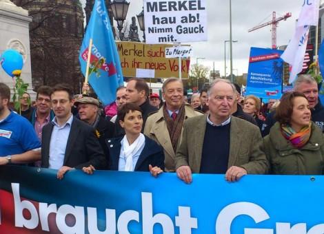 """تظاهرات اعضا و طرفداران حزب راست و پوپولیست """"آلترناتیو برای آلمان"""" با شعار علیه آنگلا مرکل، صدراعظم آلمان"""