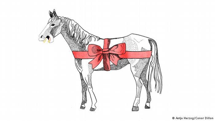 دهان اسب پیشکشی را نگاه نمیکنند (Einem geschenkten Gaul schaut man nicht ins Maul)